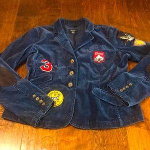 American Eagle royal blue cord patch blazer, XL